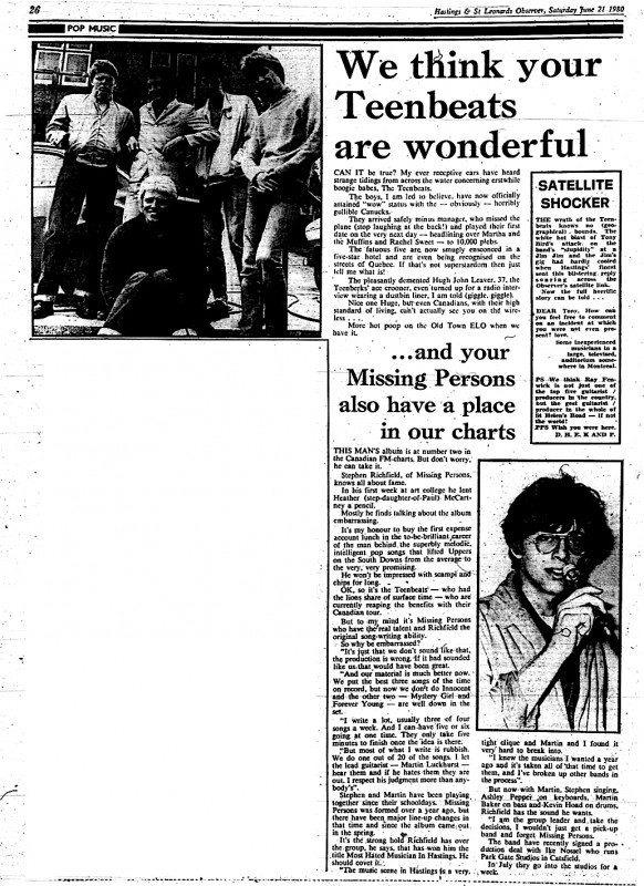 Teenbeats and Missing Persons – 21st June 1980 – SMART