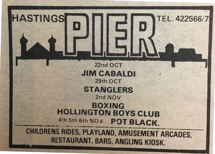 Hastings Pier ad October 1977 – not a good week for spelling